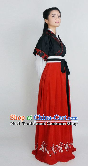 Red Black Ancient Chinese Han Fu Suit and Hair Accessories Complete Set