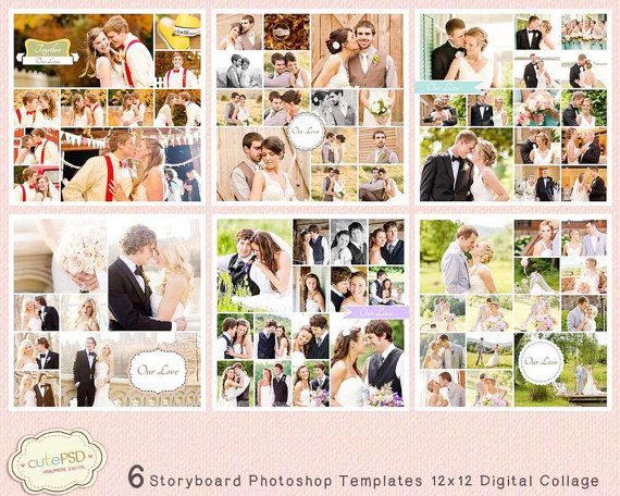6 Storyboard Photoshop Templates 12x12 Digital Collage by CutePSD, $8.00
