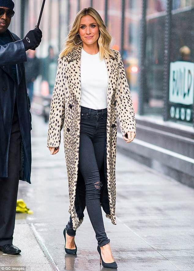 bcb77493f5c Kristin Cavallari looks stylish in animal print coat in NYC