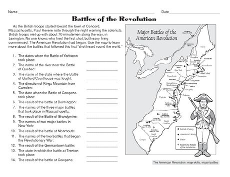 Battles Of The American Revolution Social Studies History - Us-history-map-activities-answer-key-american-revolution