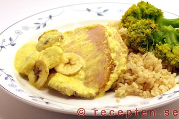 Recept på kassler med curry och banan