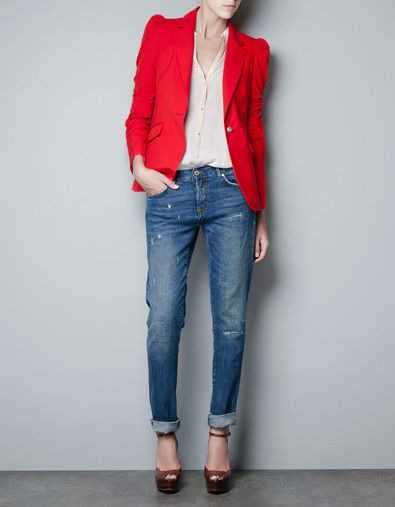 RED BLAZER WITH GATHERED SHOULDERS - ZARA United States