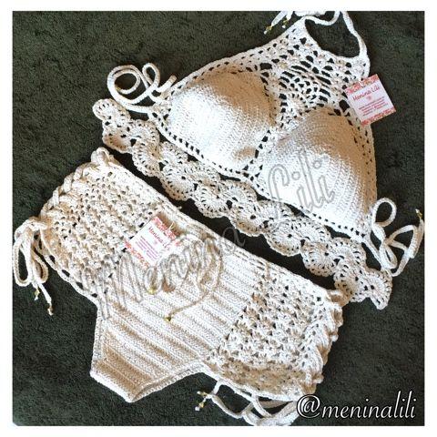 Menina Lili Croche: LANÇAMENTO - Conjunto de biquíni de Crochê top Cropped mais calcinha shortinho
