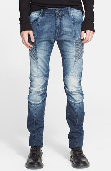 Pierre Balmain Moto Jeans (Medium Indigo) available at #Nordstrom