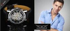 Luxusní hodinky Jaragar Luxury z nerezové oceli, koženým řemínkem atvrzeným sklem.