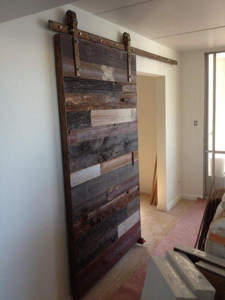 Contemporary Reclaimed Barn Wood Sliding Door