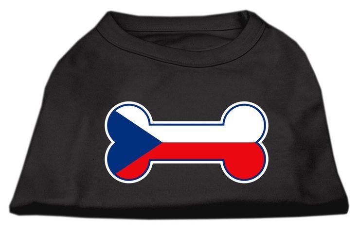 Bone Shaped Czech Republic Flag Screen Print Shirts Black S (10)