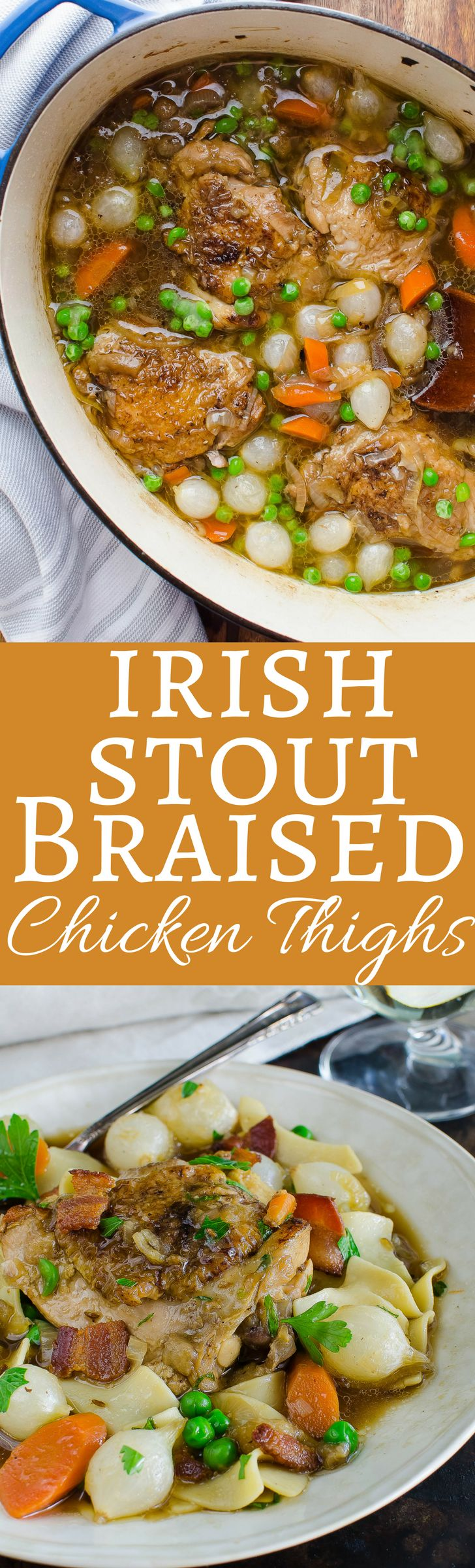 This easy chicken recipe uses Guinness to make a savory gravy perfect for Saint Patrick's Day! This one-pot recipe is loaded with onions, carrots, peas and bacon with meaty chicken thighs!