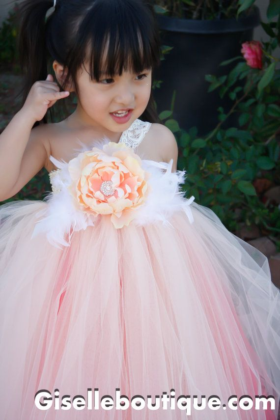 Flower girl dress Peach with Coral Underlay Tutu Dress. baby tutu dress, toddler tutu dress, wedding, birthday, Newborn, 2t,3t,4t,5t