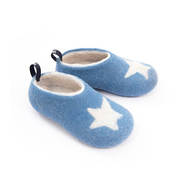 #toddler #slippers by Wooppers light blue in fine merino wool.