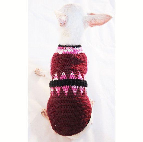 Perro color rosa granate elegante suéter Hand Knitted hada de