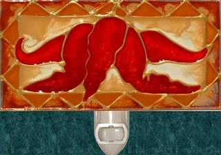 Handmade Amber Chili Peppers Nightlight. Stained glass Southwestern night light painting for kitchen decor by Pat Desmarais