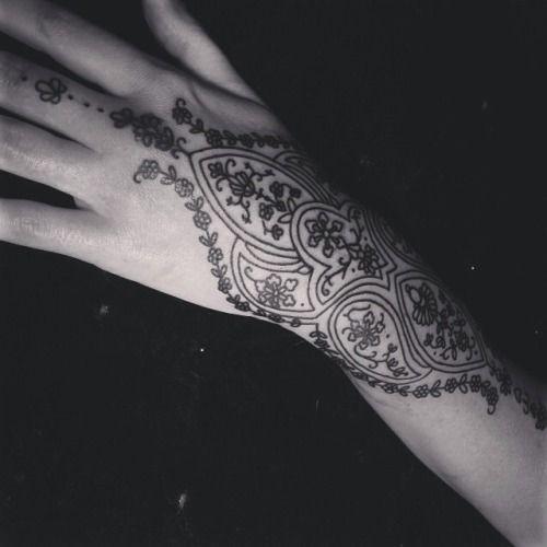 Art Female Hand Tattoo Idea
