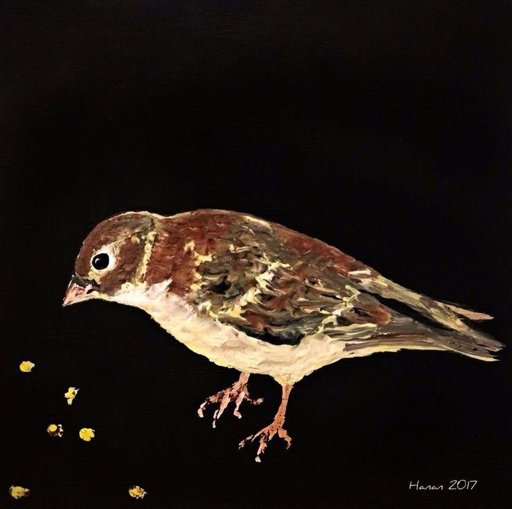 Sparrow  Acrylic on wood  2017
