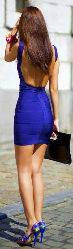 Sexy Girl Backless Bandage Dress in Blue $99.99
