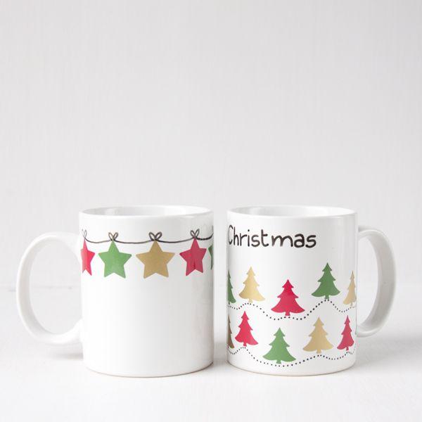 Tazas navideñas con calcas de porcelana #navidad #diy