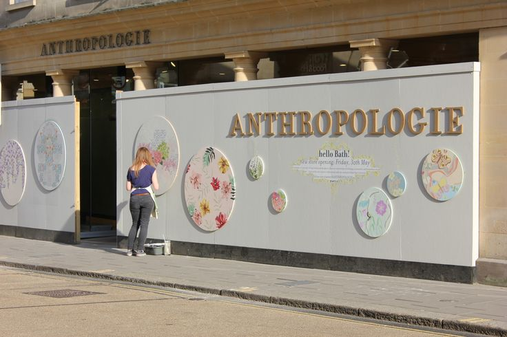 New Anthropologie store opening in Bath, Hoarding designed by Textile students at BathSpa
