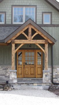 Rustic looking front entry, gray green siding