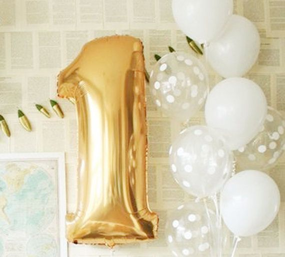30 inch Number 1 Foil Balloon, Golden Foil Balloon, 1st Birthday Balloon