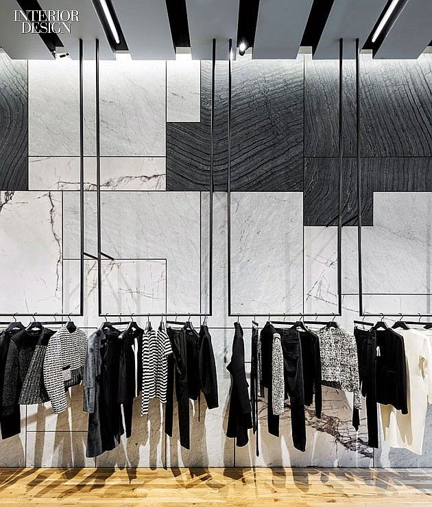 Three varieties of Italian marble clad a wall. Photography by Dean Kaufman/Proenza Schouler.
