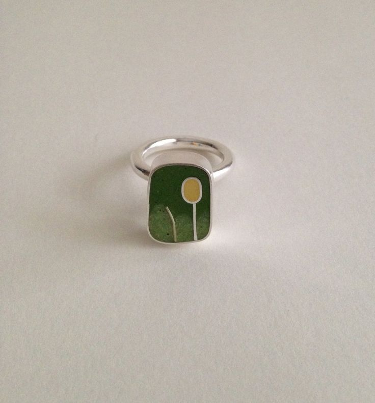 """Sterling Silver """"Tulip"""" Ring with green and yellow resin, Size 7 by koren on Etsy"""