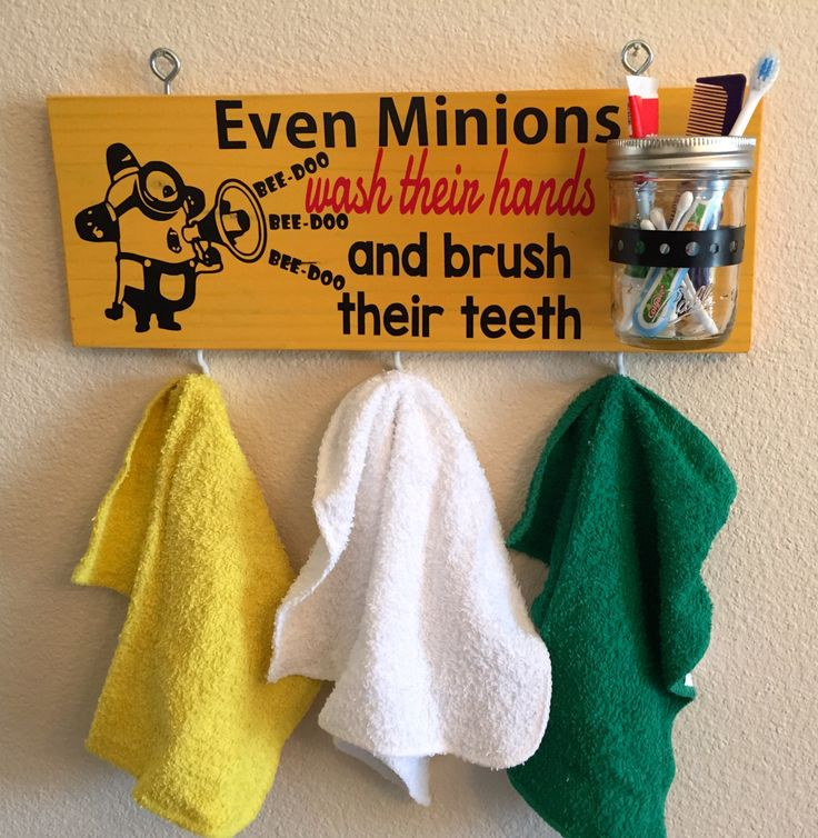 MINIONS Even MINIONS Wash Their Hands and Brush Their Teeth  Tooth Brush  Holder and Towel. 20 best minions bathroom images on Pinterest   Kid bathrooms