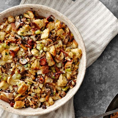 Sourdough and Mushroom Stuffing! Vegetarian alternative for Thanksgiving! (with a simple swap)