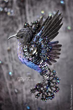 """Купить брошь - птица """"танец звезд"""" - черный, колибри, птица, птичка, пташка, маленькая брошь"""