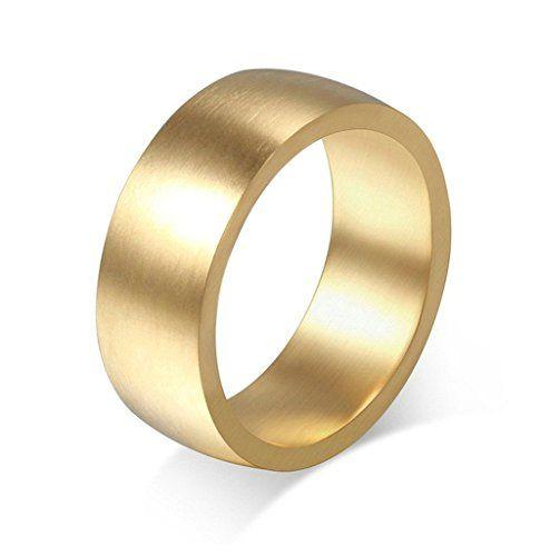 Gnzoe Schmuck, Edelstahl Ringe Vintage Gebürstetes 8mm Breit Gr.52(16.6) Gold Trauringe Heiratsantrag Band Für Damen - http://schmuckhaus.online/gnzoe/gnzoe-schmuck-edelstahl-ringe-vintage-8mm-breit-2