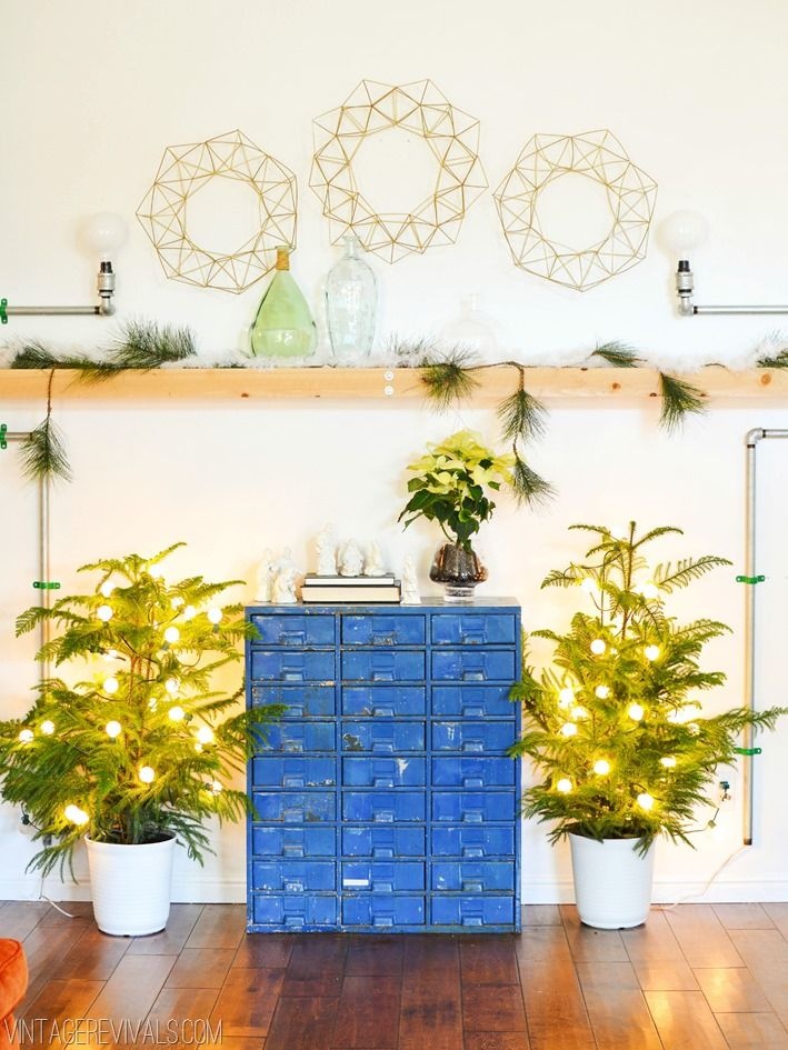 Its A White White DIY Christmas!  Geometric Himmeli Wreaths and lighted Norfolk Pines