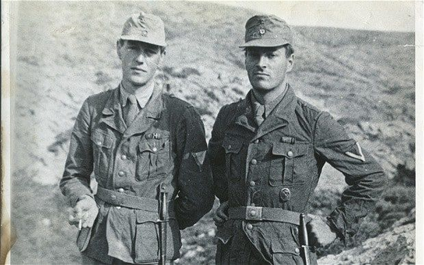 Patrick Leigh Fermor with Billy Moss in Crete, April 1944, wearing German uniforms