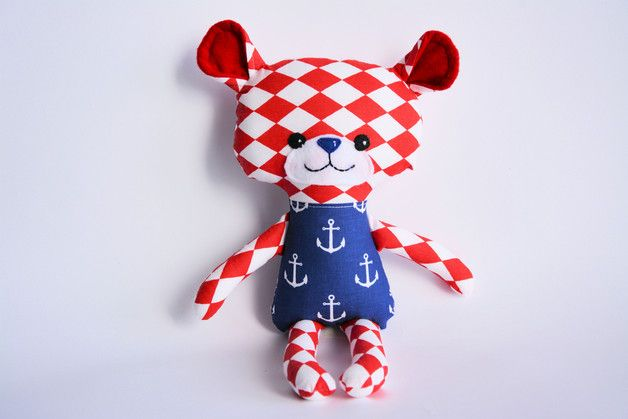 Miś z naszego czerwonego arlekina i granatowych kotwic / Cute t-bear of our red harlequin and navy anchors cotton fabric