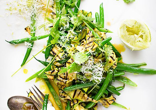 Packed with greens, this Courgette and Coriander Salad is made even more delicious with a Tahitian lime vinaigrette.
