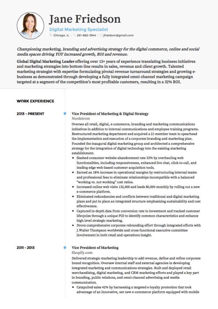 Marketing CV example Modelos de curriculum vitae