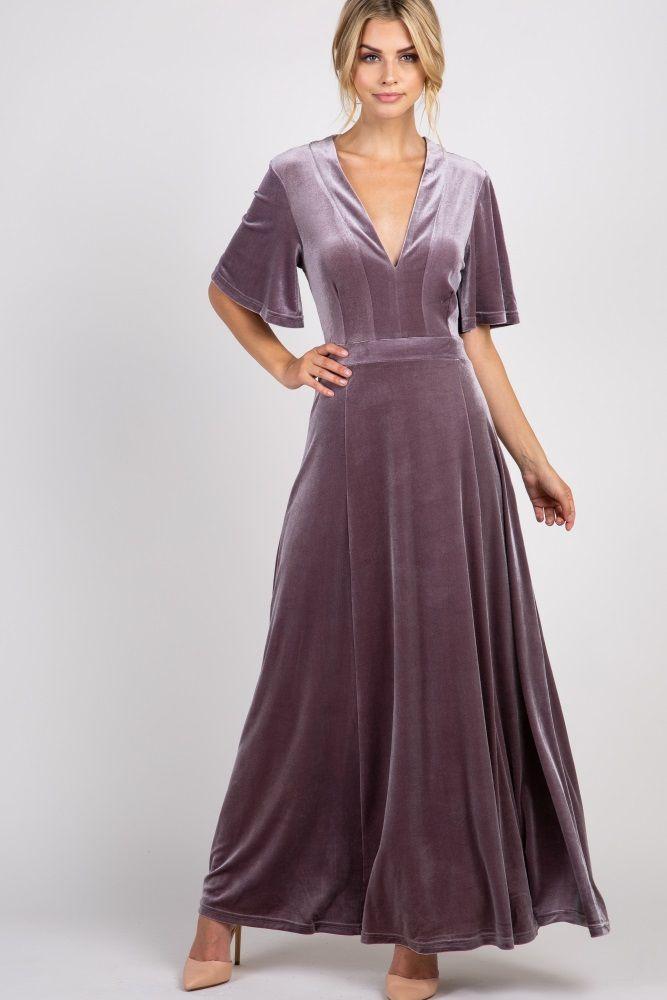 276c2860ff70 Lavender Tie Back Velvet Maxi Dress in 2019