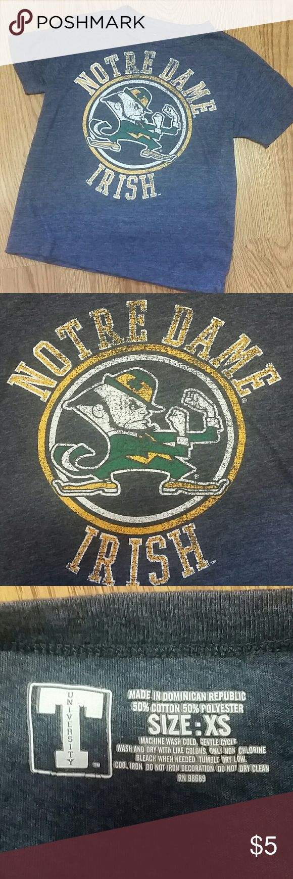 Notre Dame t-shirt Show your game pride!! Very comfortable Notre Dame t-shirt still in good condition. Size XS Shirts & Tops Tees - Short Sleeve