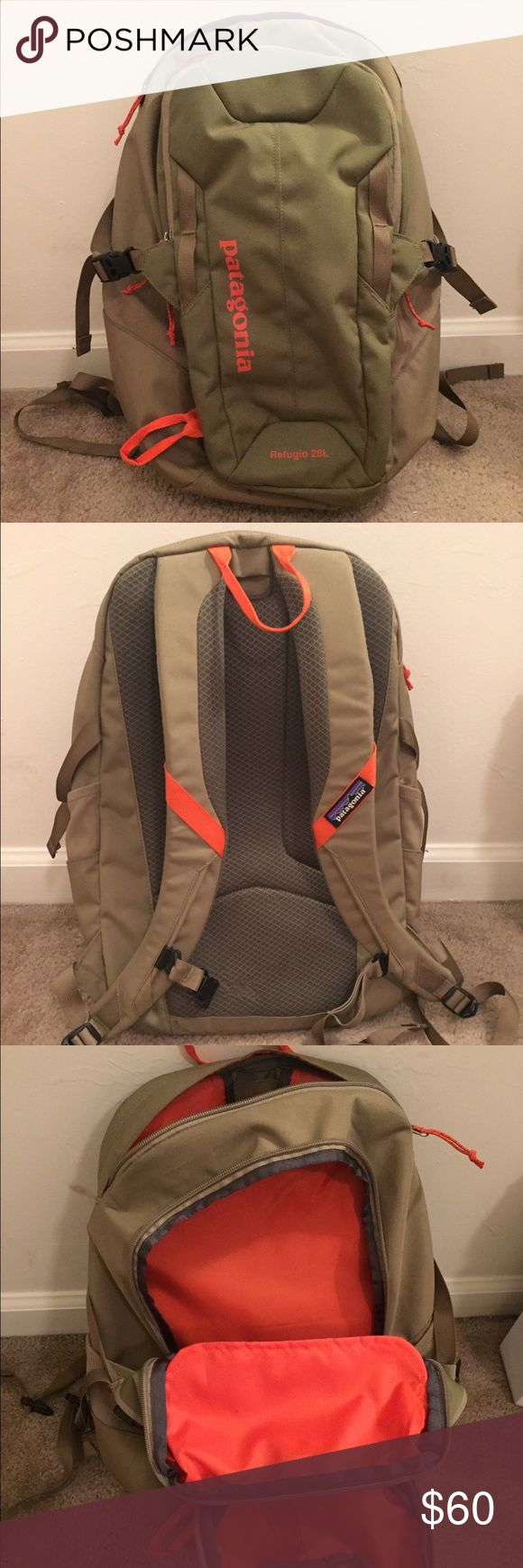 Patagonia Refugio 28L Backpack (Green and Pink) Gently used olive green and pink Refugio 28L backpack. Has a laptop compartment, book compartment, small top and small front compartments, and two water bottle side holders. Straps are adjustable. Patagonia Bags Backpacks