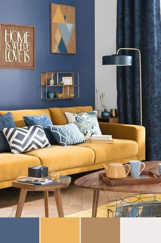 Living Room Color Trend Combines With Blue Yellow And Brown Grey