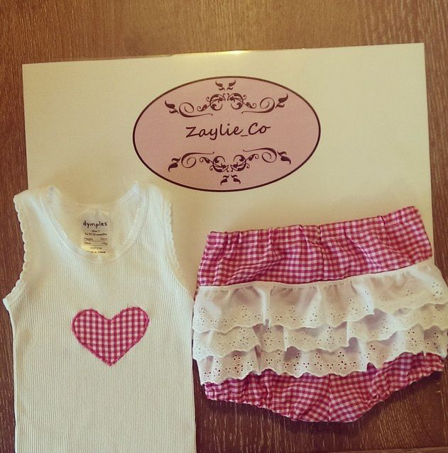 Pink and white checked nappy cover with matching singlet made by Zaylie_Co