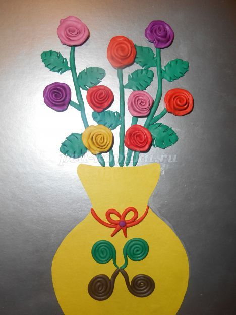 Пластилинография на цветном картоне. Мастер-класс «Ваза с розами»
