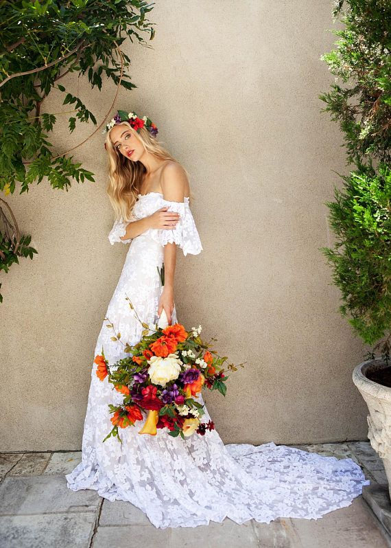 Bohemian Wedding Dress, Hippie Wedding Dress, Beach Wedding Dress, Vintage Wedding Dress, Organic Wedding Dress, Boho Wedding Dress, Indie Wedding Dress. ~ xo  Lucy 2.0, by Wear Your Love  Lucy 2.0 captures the chic sensuality of the original Lucy with a simplified silhouette that hugs in all the right places. With hand-cut floral lace edging on the beautiful off-the-shoulder ruffle and a soft stretch organic cotton knit lining it is ravishing and comfortable at once. The bodice of Lucy 2.0…