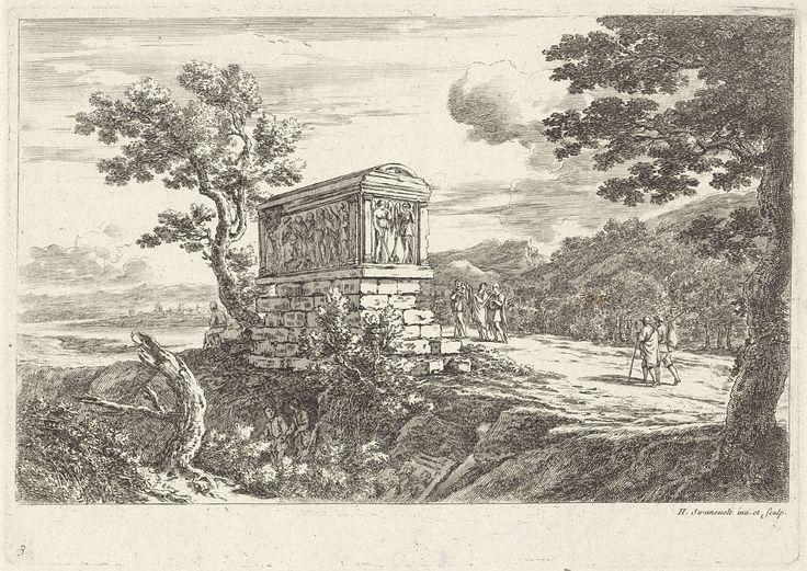 Claude Goyrand | Landschap met klassieke sarcofaag, Claude Goyrand, Herman van Swanevelt, Herman van Swanevelt, 1633 - 1712 | In een landschap staat een klassieke sarcofaag met figuren in reliëf op een stenen verhoging. Rondom de sarcofaag bevinden zich enkele figuren.