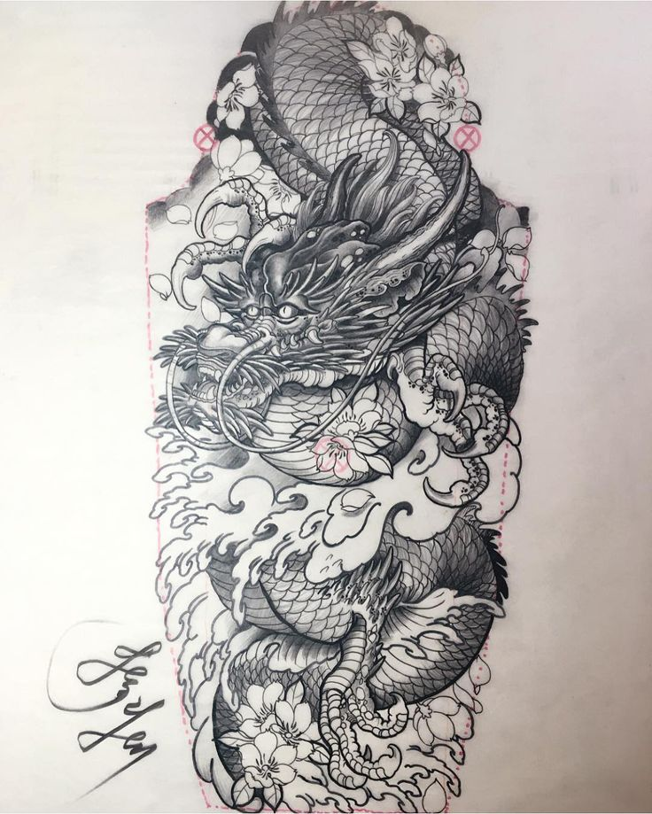 25 best ideas about tattoo outline drawing on pinterest mountain outline sunrise tattoo and - Dessin dragon japonais ...