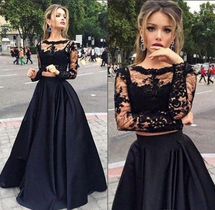 Scoop Neck Black Tulle Elastic Woven Satin Appliques Lace Long Sleeve Two Piece Prom Dress - dressesofgirl.com