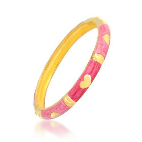 Bling Jewelry Pink Enamel Gold Vermeil Heart Bangle Bracelet 7.5 Inch Bling Jewelry. $12.99. Fits up to 7.5 inch wrist. Alternating Hearts Bangle Bracelet. Pink and Red Enamel. Weighs approximately 23 grams. Rhodium Plated Base Metal