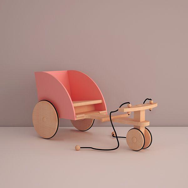 Carol is a rickshaw for kids made of natural wood.