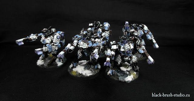 Black Brush Studio - Miniature painting services: Tau Empire: XV8 Crisis Battlesuit Team  in Winter Camo Scheme