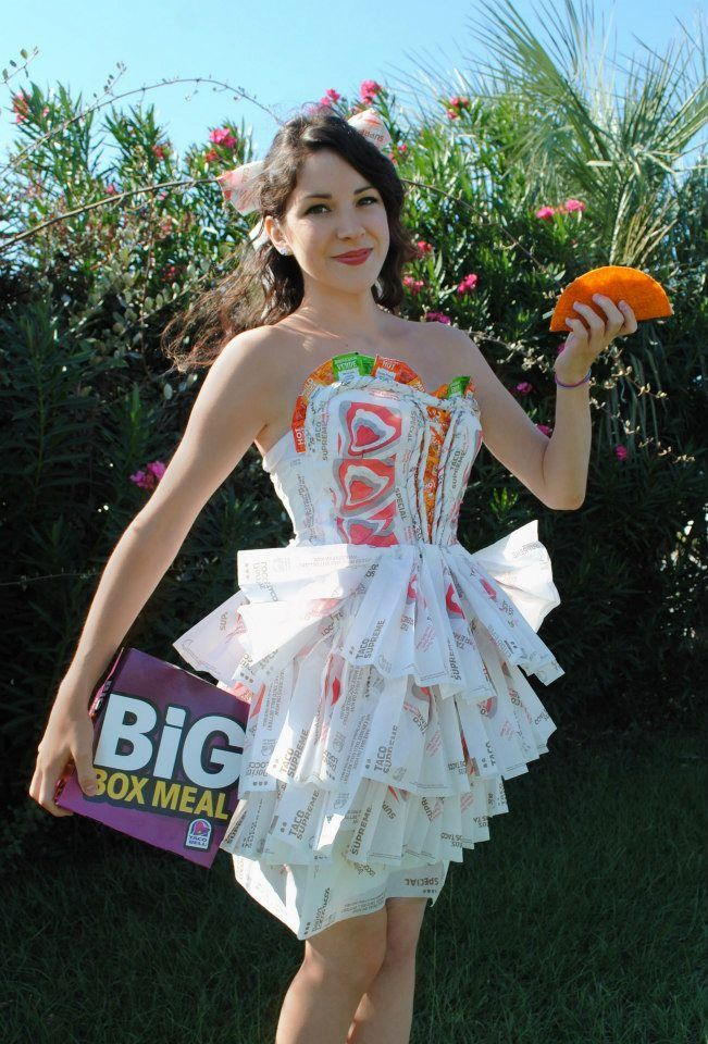 She made this costume to win a scholarship from Taco Bell. She didn't win, so they gave her $100 worth of tacos. - Imgur