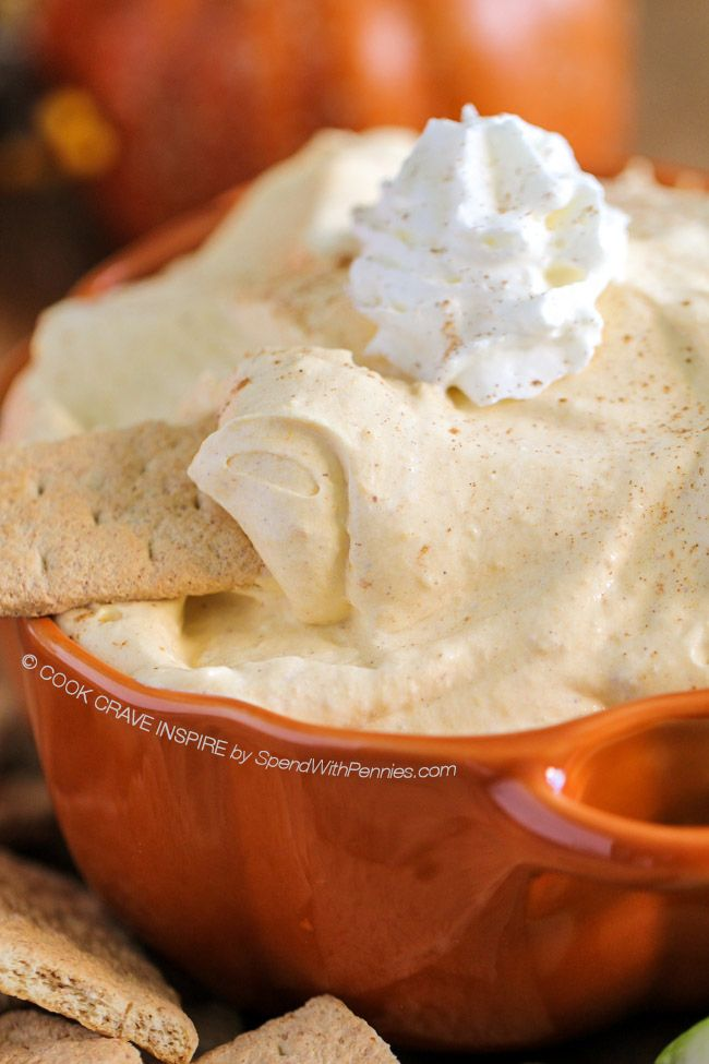 This Pumpkin Pie Dip delivers tons of fall flavor in a fluffy no bake dip! Canned pumpkin, cream cheese & warm spices make a perfect dip for fruit & more!