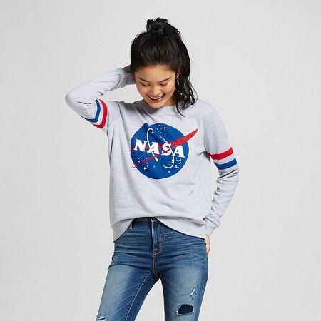 Women's Nasa Sweatshirt Gray XL - Mighty Fine® : Target